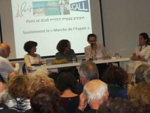 De gauche à droite : David Chemla, Brigitte Stora, Sérénade Chafik, Delphine Horvilleur et Laurence Sendrowicz