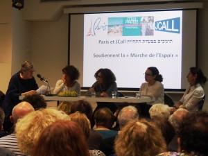 """Lecture du message envoyé par les femmes de la  """"Marche pour la paix"""" par Roseline Bloch"""
